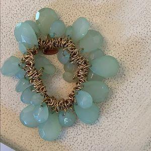 Jade Green & gold stretchy bracelet